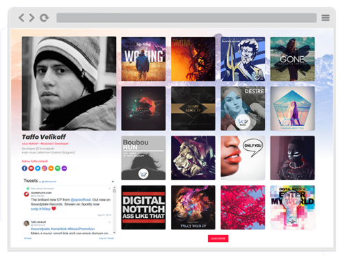 Example of a Soundplate Clicks Artist Page