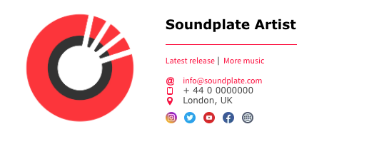 Example Email signature for music - generated free on Click.Soundplate.com